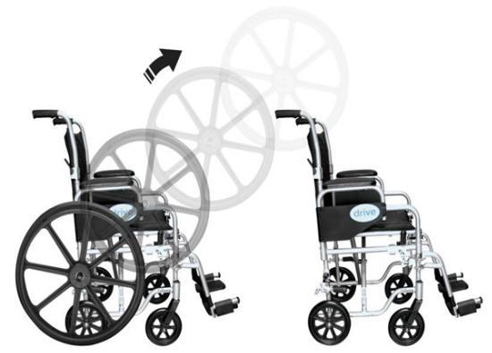 Silla de ruedas de aluminio con llanta traseras desmontables conviertiendola en una silla de - Sillas de ruedas plegables y ligeras ...